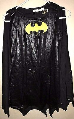 girls size medium BLACK BAT GIRL HALLOWEEN COSTUME 6 PC CAPE DRESS BOOT COVER @@ (Girls Bat Girl Costume)