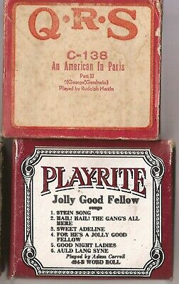 Pianola Rolls x 2 QRS An American in Paris George Gershwin  + Jolly Good Fellows