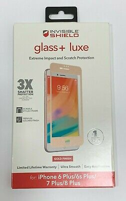 Zagg Glass Luxe Screen Protector For iPhone 8 Plus / 7 Plus / 6 Plus - Gold