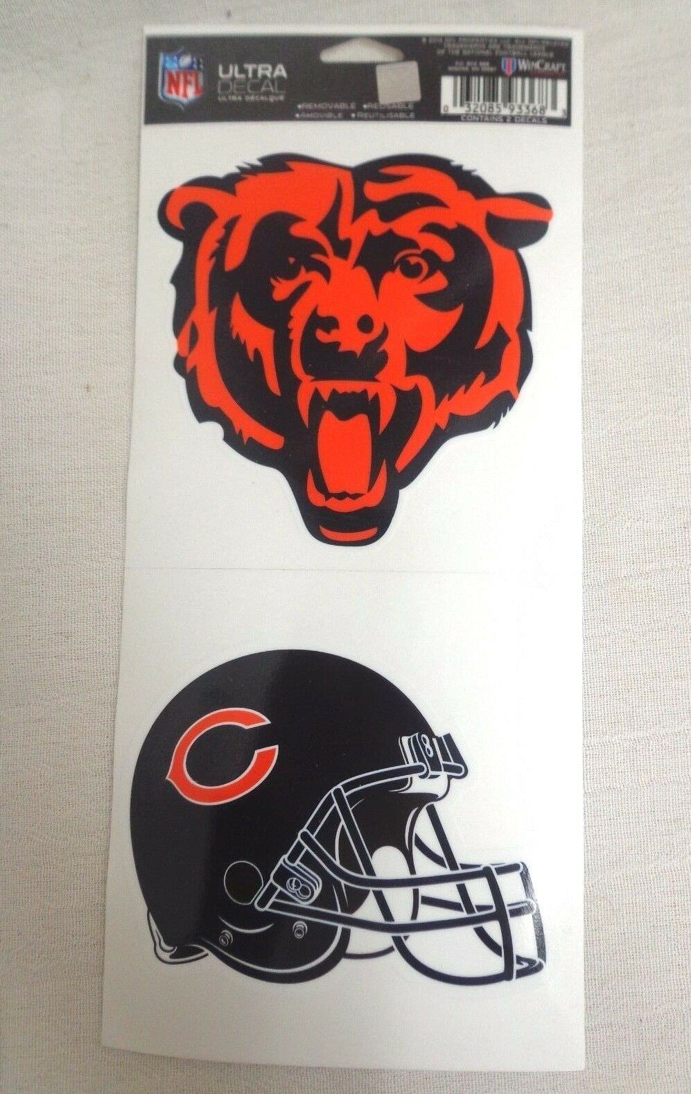 NFL Ultra Decals 2 Pack Set Removable Reusable Sticker Wincraft Chicago Bears