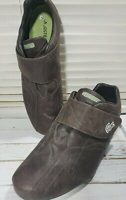 Lacoste Mens Sport Protect Strap Brown Leather Size 11 Monk Strap Sneaker Shoes