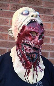 Zombie Skull Full Head & Chest Latex Mask Deluxe Fancy Dress Halloween Demon