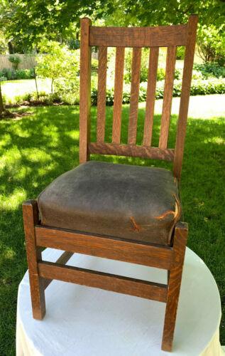 Original Gustav Stickley Chair No. 328 with Seat Cushion Vintage Antique