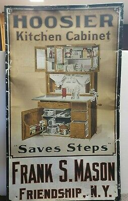 LARGE ULTRA RARE ANTIQUE Tin Hoosier Kitchen Cabinet sign Mason FRIENDSHIP NY