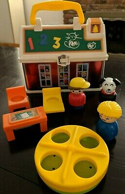Fisher Price Little People Play 'n Go School box with handle plus lot of 7