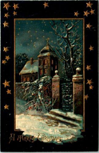 Antique Postcard Christmas Theme Snow Scene Gold Stars S. Langsdorf & Company  3