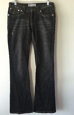 Womens Roxy 1970 Vintage Flare Stretch Denim Jeans Distressed Size 3  30 X 34