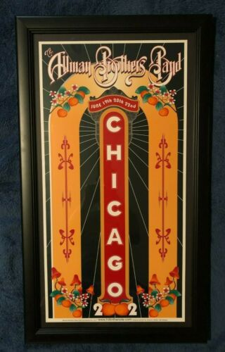 allman brothers 2002 Chicago poster rare mint comes  framed