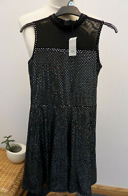 River Island Girls Black and Silver Velvet Sequin Party Dress Age 11/12 yr NEW