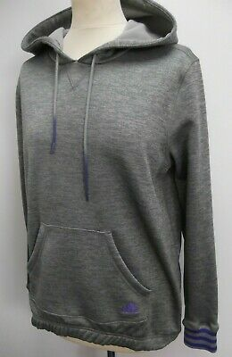 ADIDAS ladies Hoodie jumper in grey purple logo UK size 12-14 fleece lined