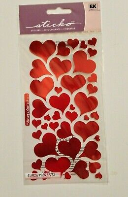 Sticko 'Foil Hearts' Scrapbook Sticker Sheets ~ Love,Valentine's Day, shapes](Valentine Stickers)