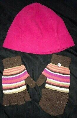 Back Mittens - girls DARK PINK FLEECE WINTER HAT fold back top MITTENS GLOVES one size STRIPES