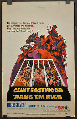 Hang Em High 1968 Orig 14X22 Wc Movie Poster Clint Eastwood Inger Stevens