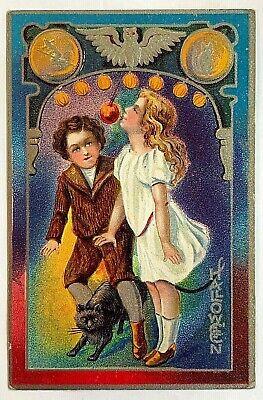 Antique Halloween Postcards ( Antique Halloween Postcard Series 5 Children Apple Game Witch Owl Cat)