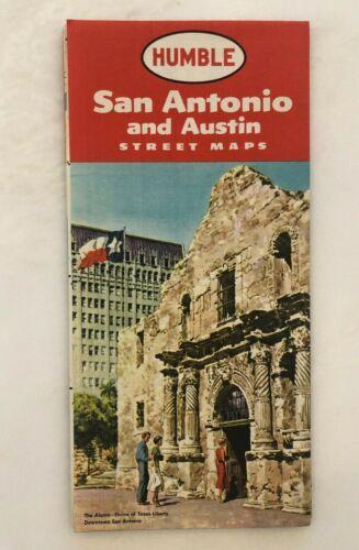 1957 HUMBLE Oil & GAS Service Station TEXAS San Antonio Austin Vintage ROAD MAP
