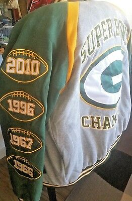 Nwot Green Bay Packers 4 Time Super Bowl Hooded Winter Jacket Xl Gray Green