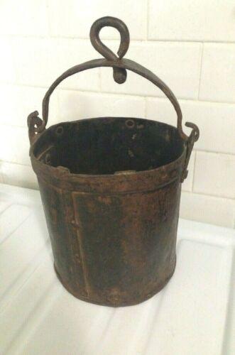 Antique Primitive Hand Wrought Hanging Fireplace  Ash Bucket Cast Iron W/ Handle