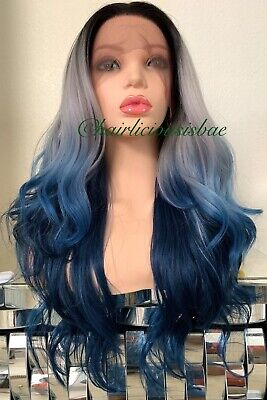 pastel lace front wig Wavy Layered Ombré Gray Purple Blue Black 26 Inch Long - Pastel Colored Wigs