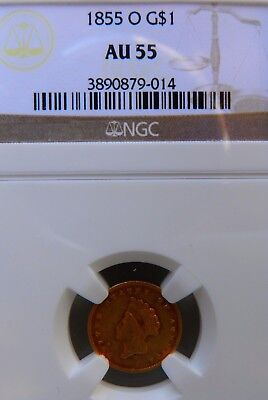 1855-O G$1 Gold Dollar  AU55 NGC type 2 princess - scarce New Orleans