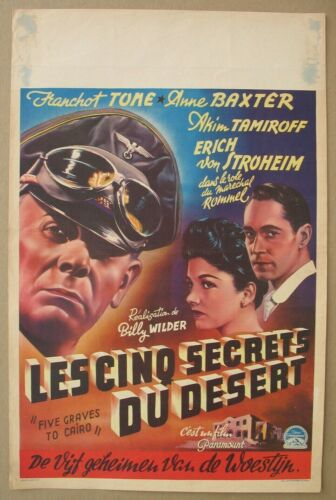 FIVE GRAVES TO CAIRO 1943 Original Belgian Poster, Franchot Tone, Baxter, Wilder