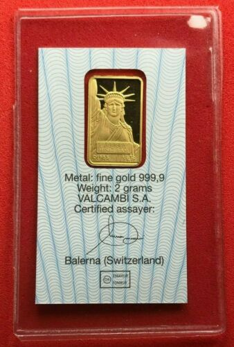 Statue of Liberty- 2 Grams GOLD BAR Ingot- CREDIT SUISSE- Valcambi - Sealed 24kt
