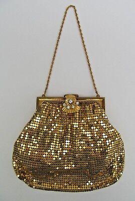 1950s Handbags, Purses, and Evening Bag Styles Duramesh Chainmail Mesh Evening Bag Goldtone Purse Rhinestone Snap Clasp USA Vtg $16.19 AT vintagedancer.com