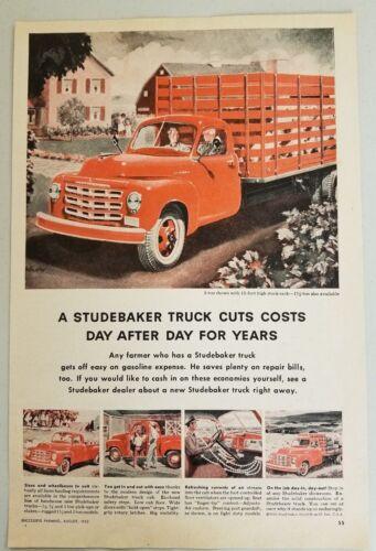 1952 Print Ad Studebaker Stake & Pickup Farm Trucks Farmers