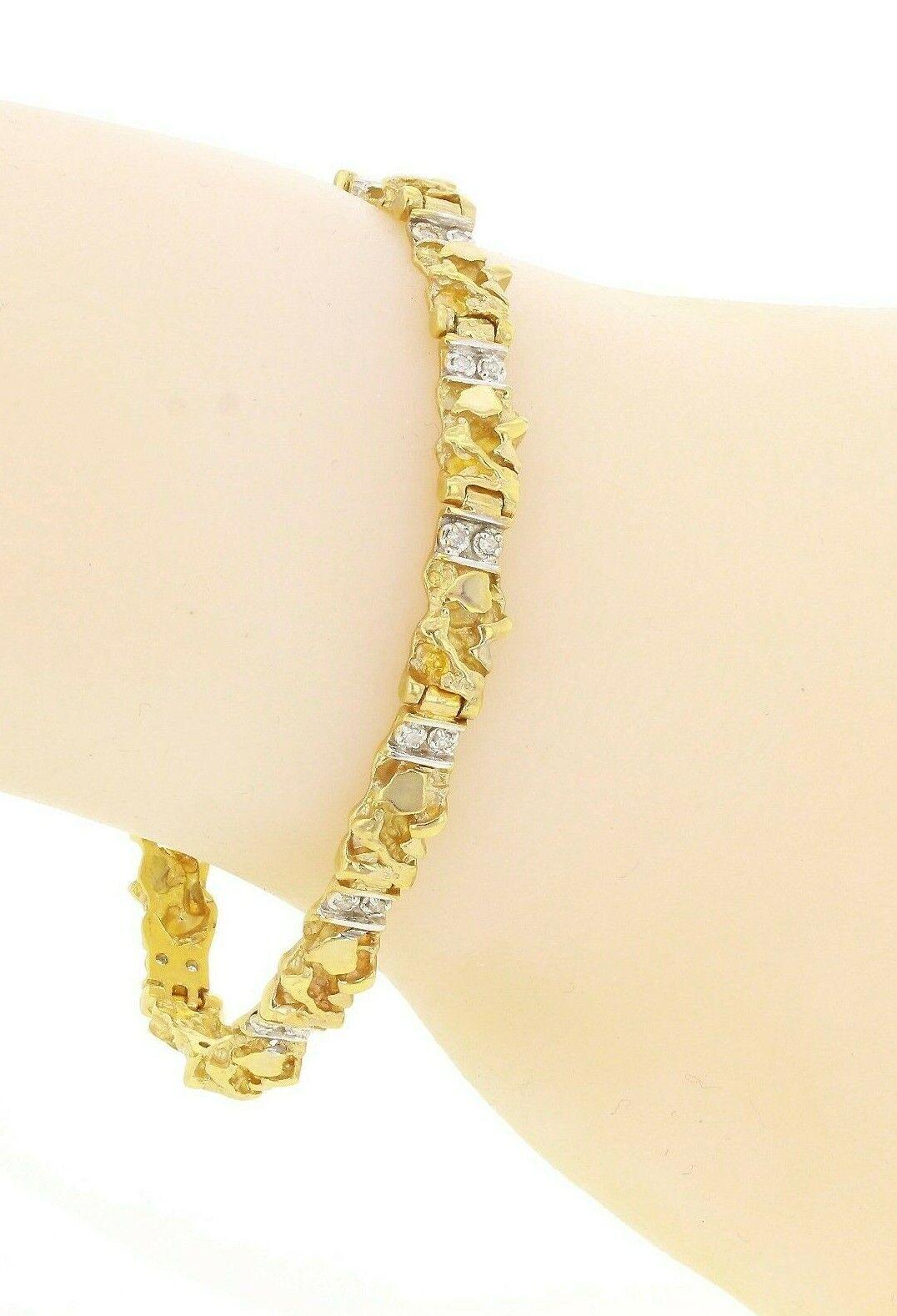 "10k Yellow Gold Natural Round Diamond Nugget Bracelet 7"" 6mm"