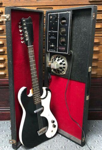 1960s Black Silvertone #1448 Electric Guitar w/ Danelectro Tube Amp-In-Case Vtg