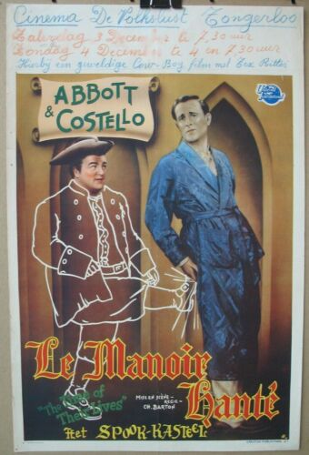 THE TIME OF THEIR LIVES (1946) Original Belgian Poster, Abbott & Costello Ghosts