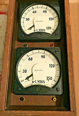 Vintage Westinghouse Model Ka-241 Ac Dc Volt Meters Mounted In A Wood Case