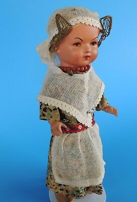 """Vintage Terracotta Doll Marked VH 10"""" Body Cloth Shoes Marked Poland"""
