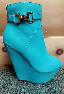 Mona Mia India Open Toe Platform Wedge Ankle Boot Shoes Mint Green (Open-toe Wedge Boot)