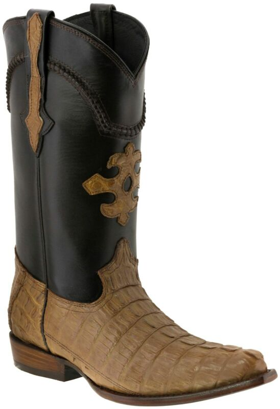 Mens, Light, Brown, Genuine, Crocodile, Tail, Skin, Leather, Cowboy, Boots, Snip, Toe