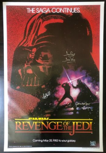 Mark Hamill, James Earl Jones, Dave Prowse Star Wars Signed Poster.