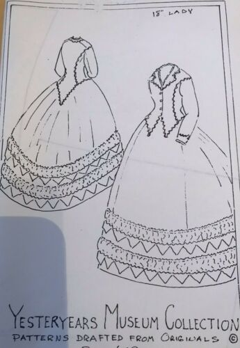 """18""""ANTIQUE FRENCH FASHION LADY DOLL ROHMER HURET DRESS DRAWER PETTICOAT PATTERN"""