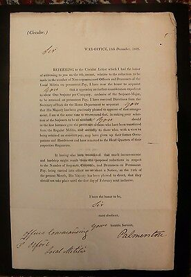 Lord Palmerston - Prime Minister - 1809 War Office Letter to 3rd Oxford Militia