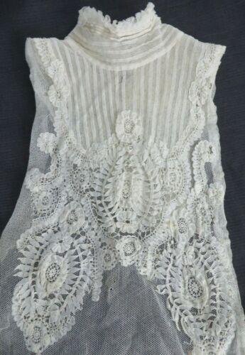 Antique Vtg PRINCESS Brussels LACE Elaborate Victorian Dress Front High Collar