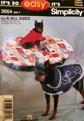 "Simplicity Sewing Pattern ""It's So Easy"" #3664 Dog Coat in 3 Sizes & Pet Bed"
