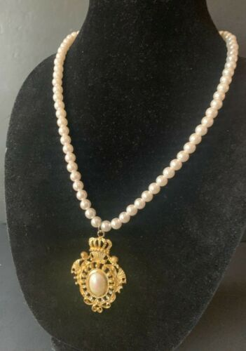 Vintage long faux pearl necklace with gold tone victorian pendant
