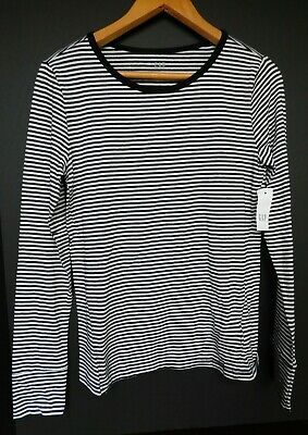 NWT GAP Women's Lightweight Crew LS T-Shirt Black Striped S M L NEW MSRP $30