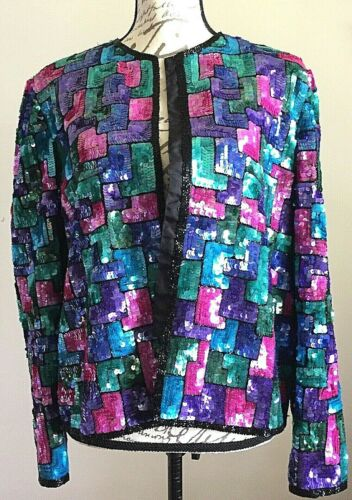 Vintage Laurence Kazar XL Womens Evening Jacket Sequins Beads Theater DRAMA