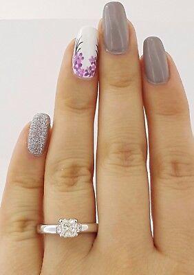 1.04 ct Cordova 14K White Gold Radiant Cut Diamond Solitaire Engagement Ring GIA 1