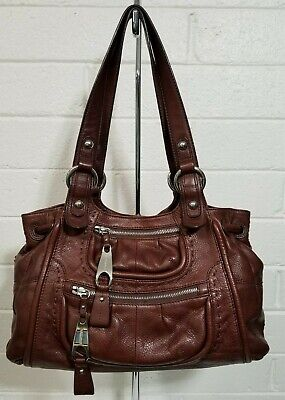 B. MAKOWSKY LARGE BROWN LEATHER SATCHEL SHOULDER BAG HANDBAG PURSE