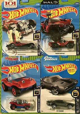Hot Wheels Lot Of 4 Screen Time Ice Charger Spider Mobile Cruella Sword Warthog
