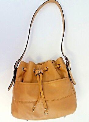 Drawstring Hobo Bag - Tignanello Tan Pebble Leather Drawstring Hobo Shoulder Bag Luck of the Draw
