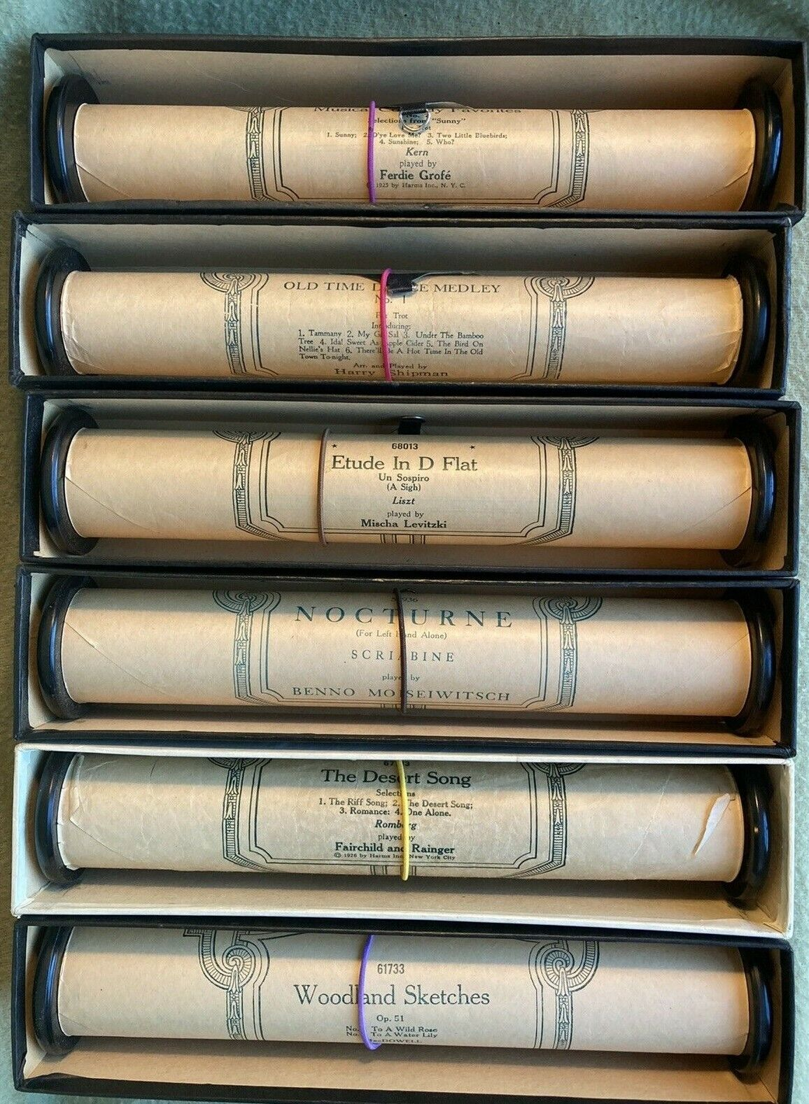 Vintage Ampico Player Piano Rolls, Previously Played - Bundle Of 6 Rolls - $71.00