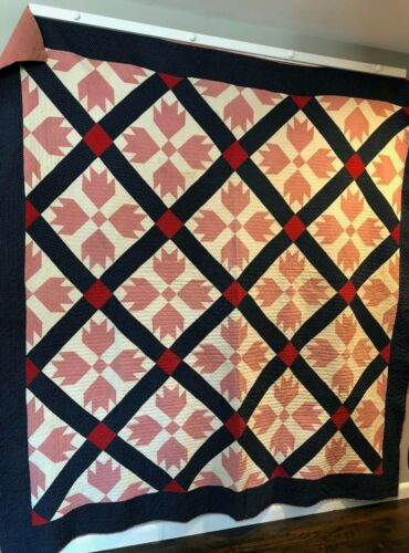 Stunning Antique Quilt with Bears Paw Design in Indigo, Pink and Red