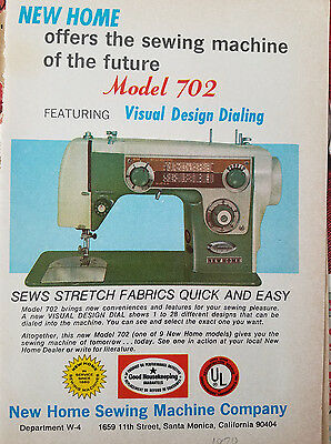 1970 Vintage New Home Model 702 Sewing Machine Original Ad