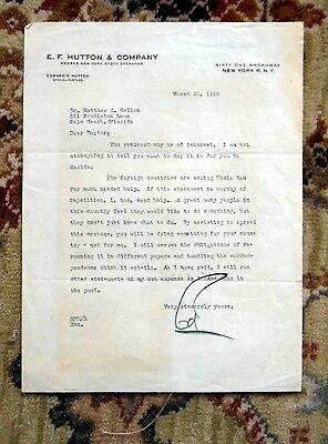 1948 Edward F  Hutton  E F  Hutton  Typed Letter Signed To Mellon Family Member